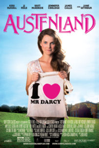 "The cover of the Austenland film with Keri Russell standing in a sunlit field holding a white tote bag with the black and pink text ""I heart Mr. Darcy."